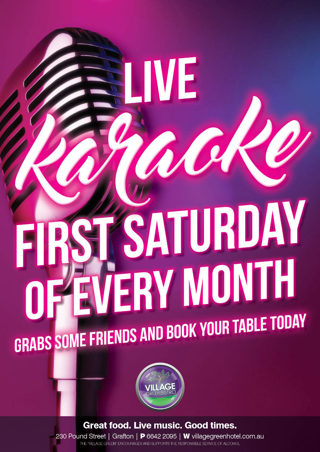 Live Karaoke First Saturday of every month